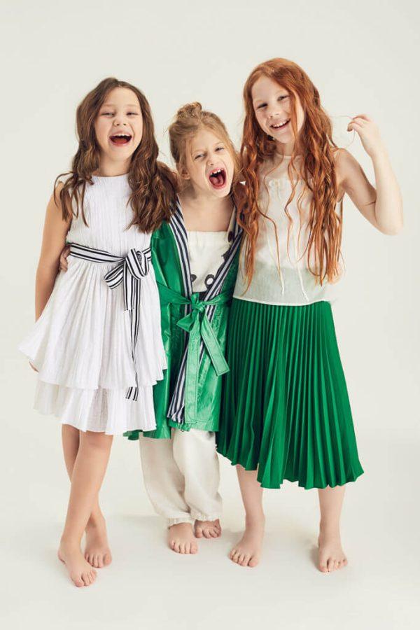 Зеленая плиссированная юбка для девочки 2020 1