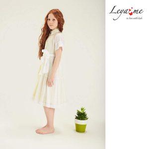 Платье-рубашка детское из белого хлопка на желтой подложке с декором из пайеток