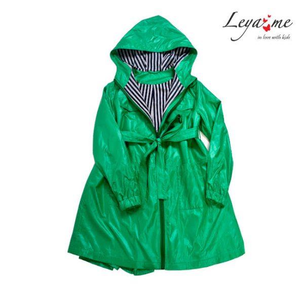 Плащ-ветровка детский зеленый на девочку