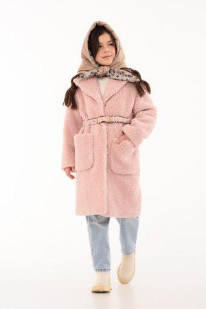 Детское пальто из искусственного меха с накладными карманами