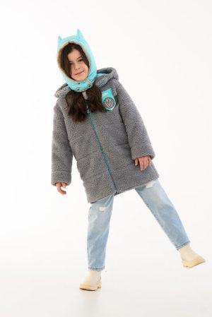 Детская стеганая куртка из искусственного меха с капюшоном