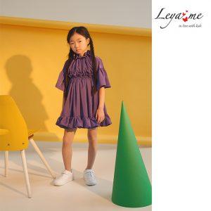 Сиреневое детское платье с драпировкой