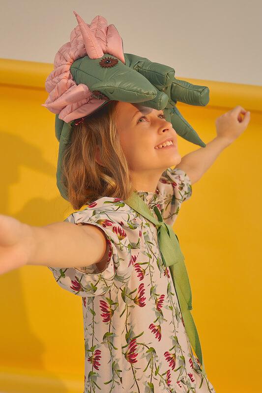 Цветочное детское платье-трапеция с рукавами-фонариками