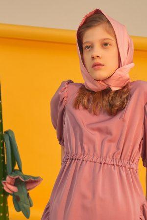 Пыльно-розовое детское платье с рукавами-фонариками