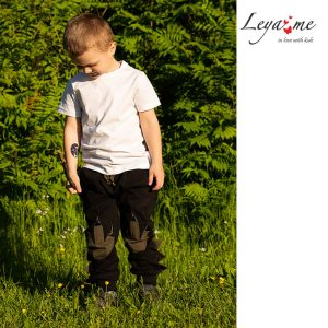 Черные детские брюки для мальчиков и девочек, из футера с декором на коленях в виде следов динозавра