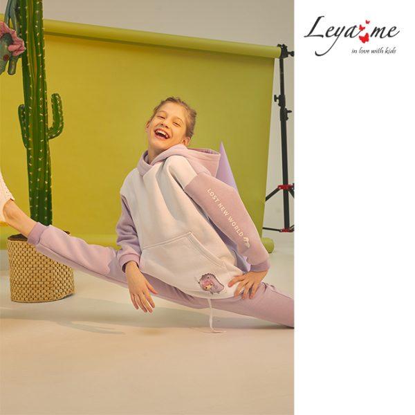 Лавандовый теплый детский спортивный костюм для девочки