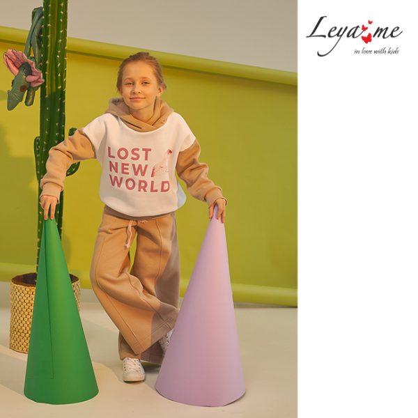 Широкие бежевые детские брюки для девочки