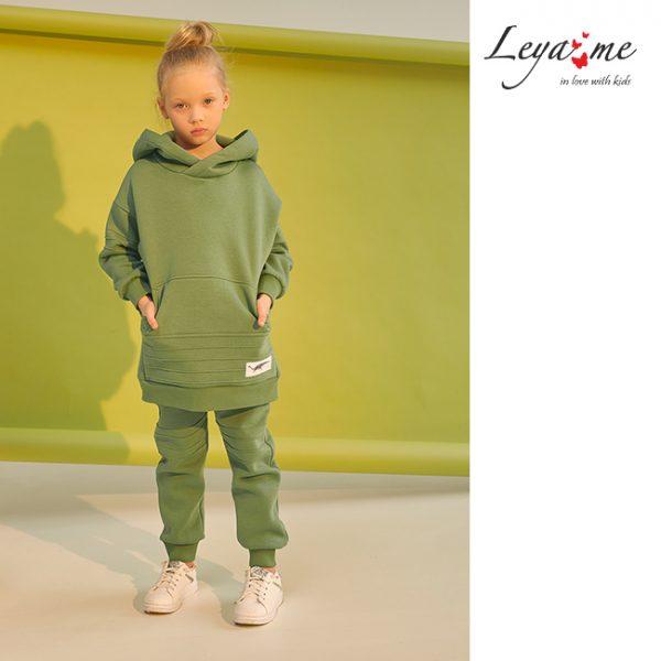 Зеленый детский худи для девочки с декоративными отстрочками