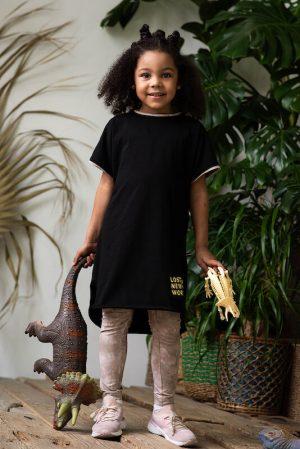 Бежево-серые детские леггинсы на девочку с принтом тай дай