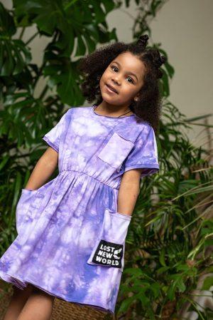 Сиреневое детское платье-туника тай дай