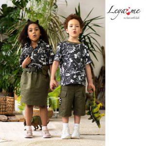 Хлопковая детская юбка цвета хаки с поясом и поясной сумочкой
