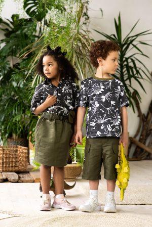 """Хлопковая летняя детская рубашка для мальчиков и девочек детская с принтом """"Скелеты динозавров"""""""
