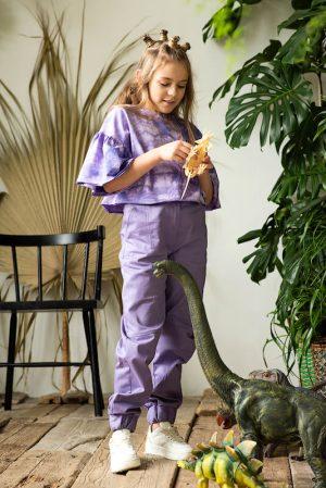 Сиреневые детские джинсы для девочки