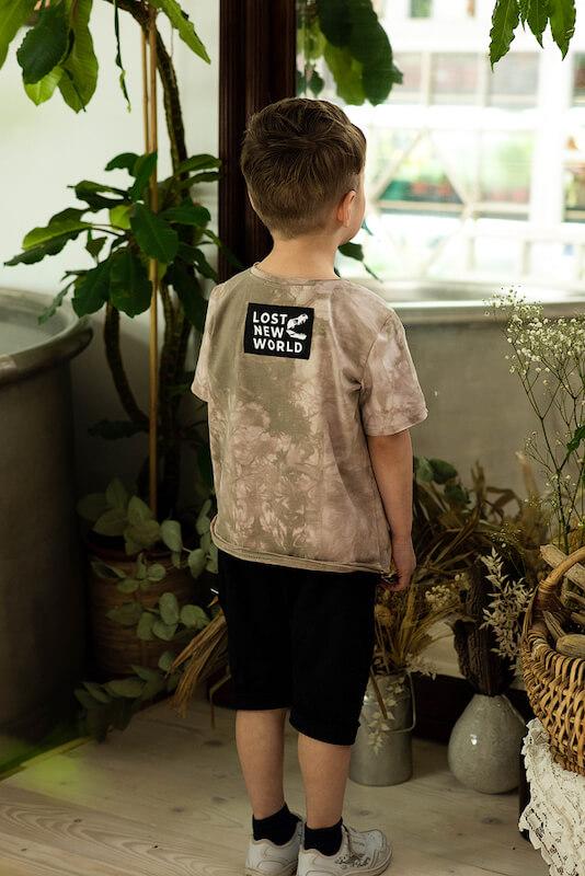 """Бежево-серая детская футболка тай дай для мальчика с принтом """"Динозавр T-Rex"""""""