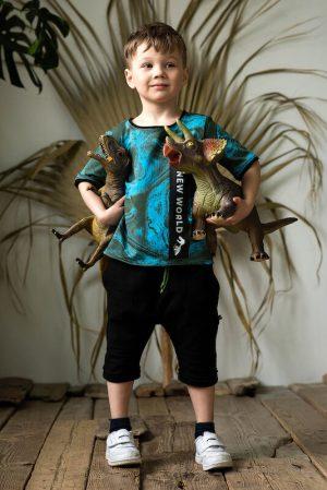 Черные детские шорты для мальчика, с отстрочками