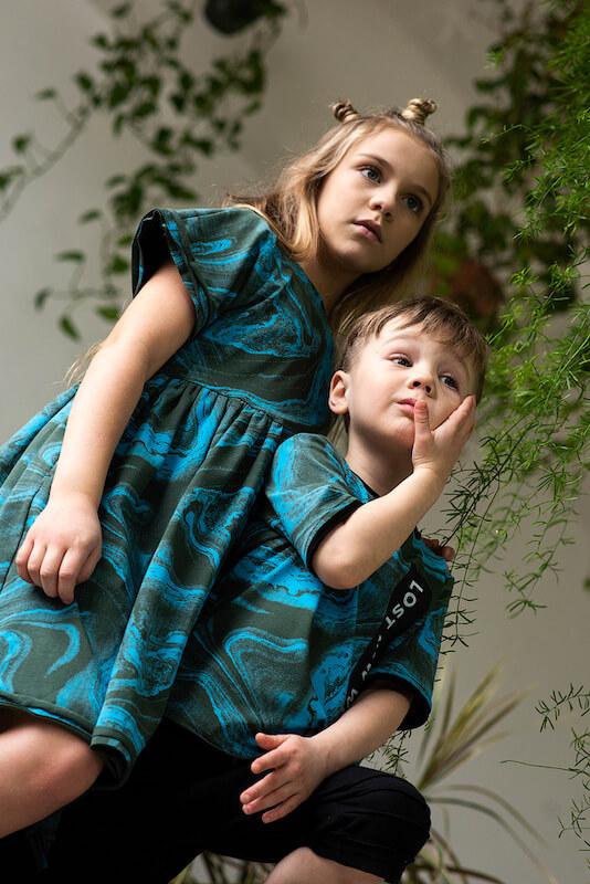 Детское платье-туника тай дай цвета хаки для девочки