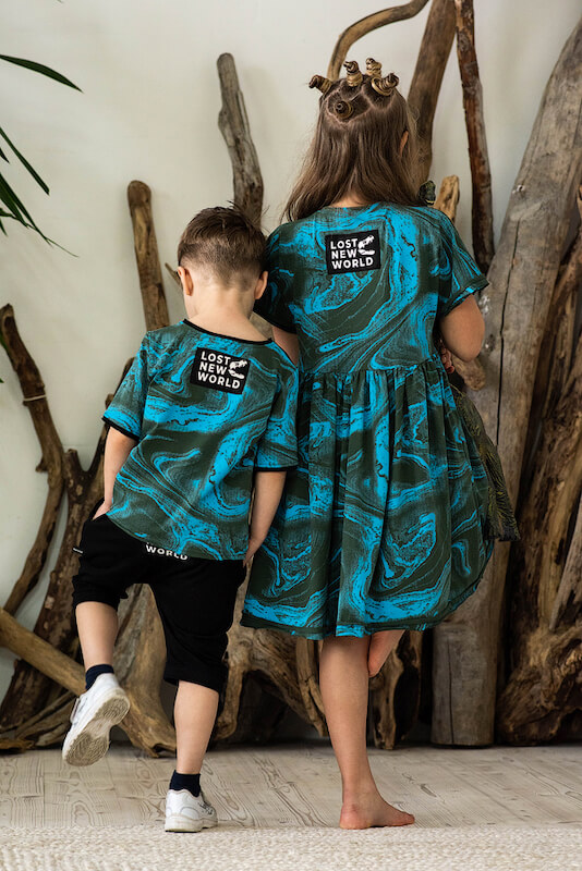 Детская футболка тай дай для мальчика бирюза+хаки