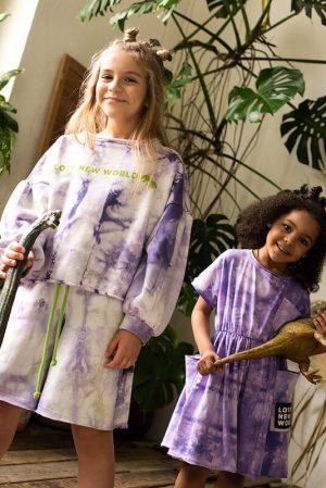 Сиреневый детский спортивный костюм тай дай: шорты и свитшот с принтом Lost New World