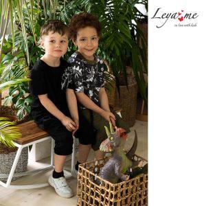 """Черная детская футболка для мальчика с объемным принтом """"Скелет динозавра"""""""