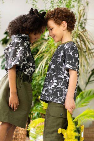 """Детская футболка для мальчиков и девочек с принтом """"Скелеты динозаров"""""""