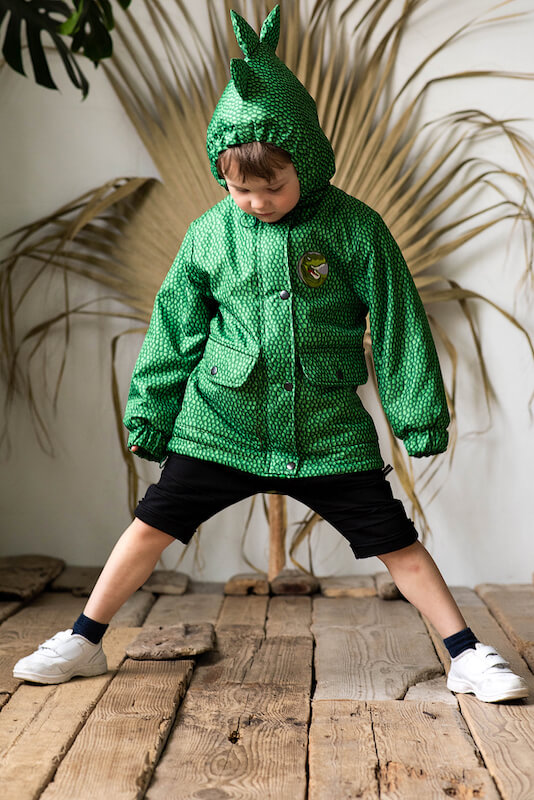 """Зеленая детская куртка для мальчиков и девочек """"Динозавр"""""""