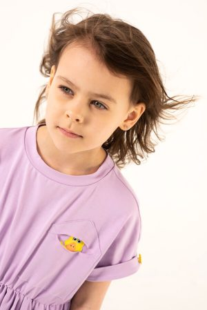 Сиреневое детское платье-туника с аппликацией Утенок