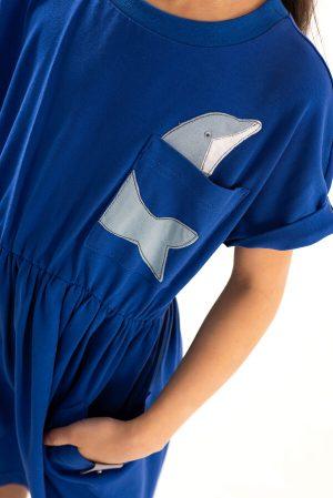 Синее детское платье-туника с аппликацией Дельфин