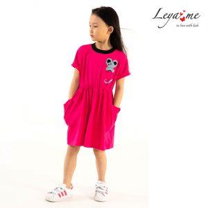 Детское платье-туника цвета фуксия с аппликацией Мышь