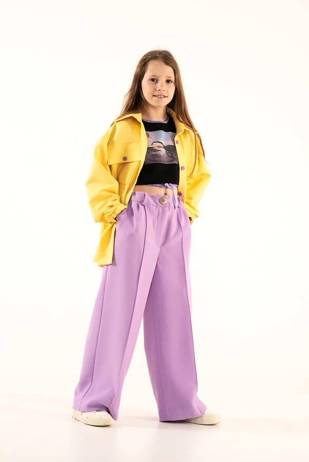 Сиреневые детские брюки со стрелками