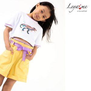 Желтые детские шорты для девочки, с накладными карманами