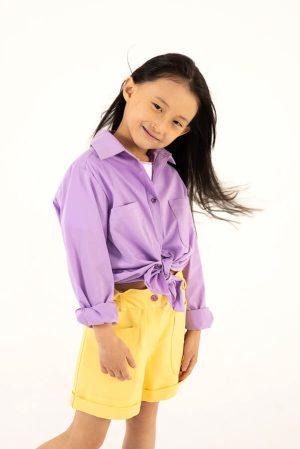 Хлопковая сиреневая детская рубашка для девочки