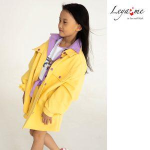 Желтая джинсовая детская куртка-рубашка для девочки