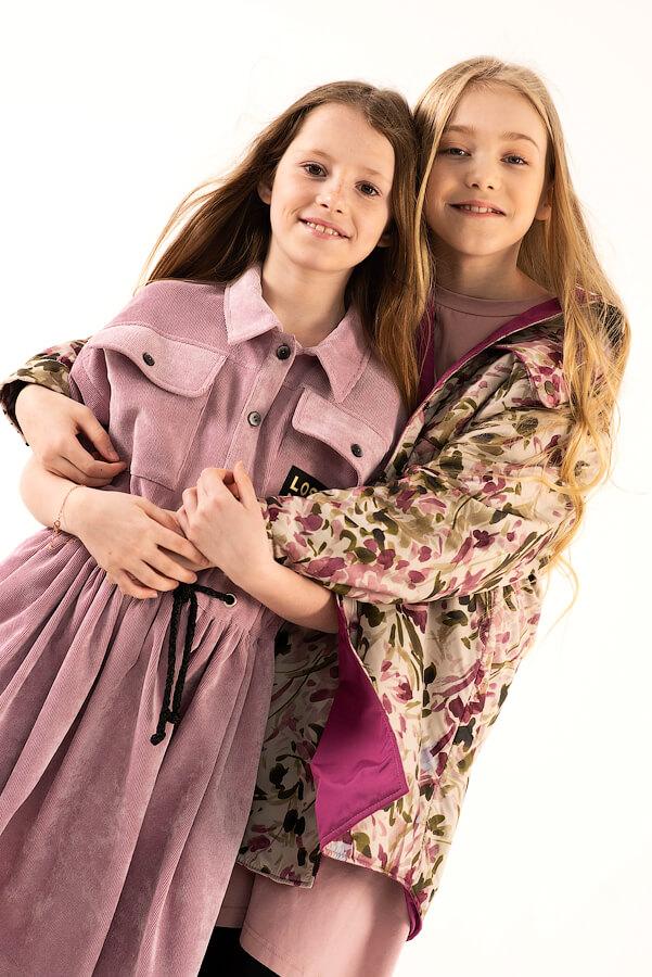 Пудрово-розовое вельветовое детское платье-рубашка для девочки