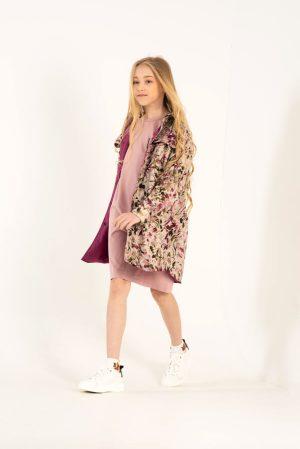 Детская куртка-рубашка для девочки, с цветочным принтом