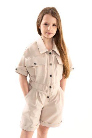 Бежевый джинсовый детский комбинезон для девочки