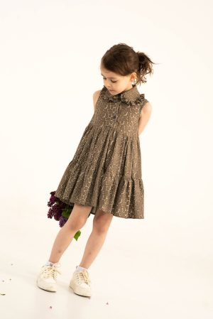 Летнее детское платье-сарафан для девочки, с оборками и отложным воротничком