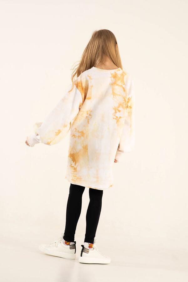Желтое детское платье-туника для девочки