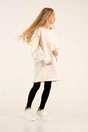 Желтое детское платье-туника для девочки, с принтом тай дай