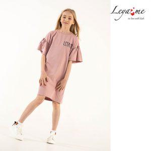 Пудрово-розовое детское платье-туника для девочки