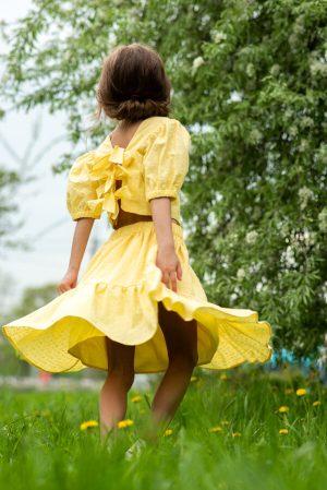 Желтая летняя детская юбка для девочки, из шитья с воланом