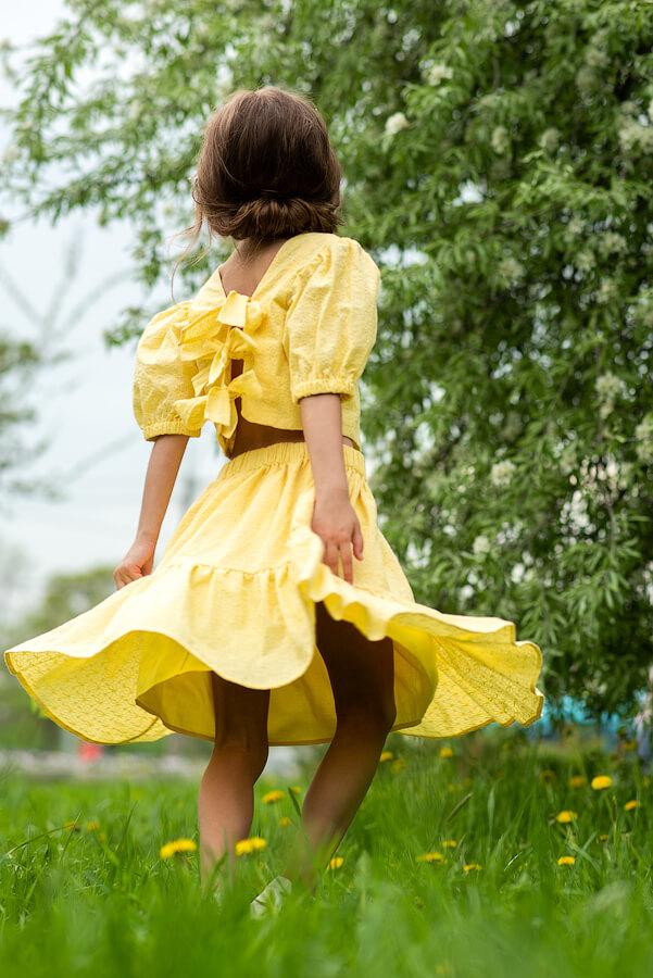Желтая летняя детская юбка для девочки