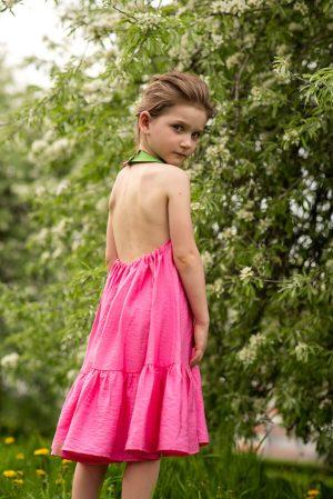 Розовый детский сарафан для девочки, с аппликацией Дино