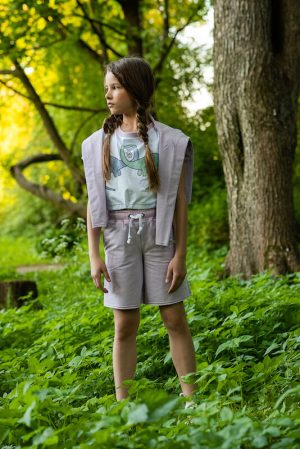 """Белая детская футболка для девочки с принтом """" Влюбленные динозавры"""""""