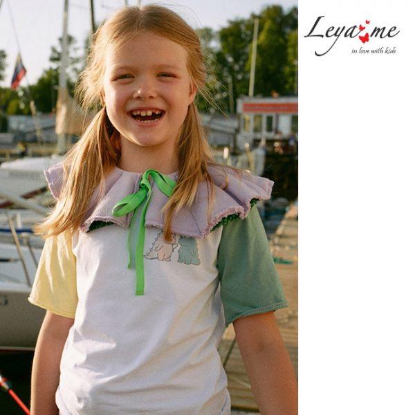 Удлиненная детская футболка с цветными рукавами для девочки