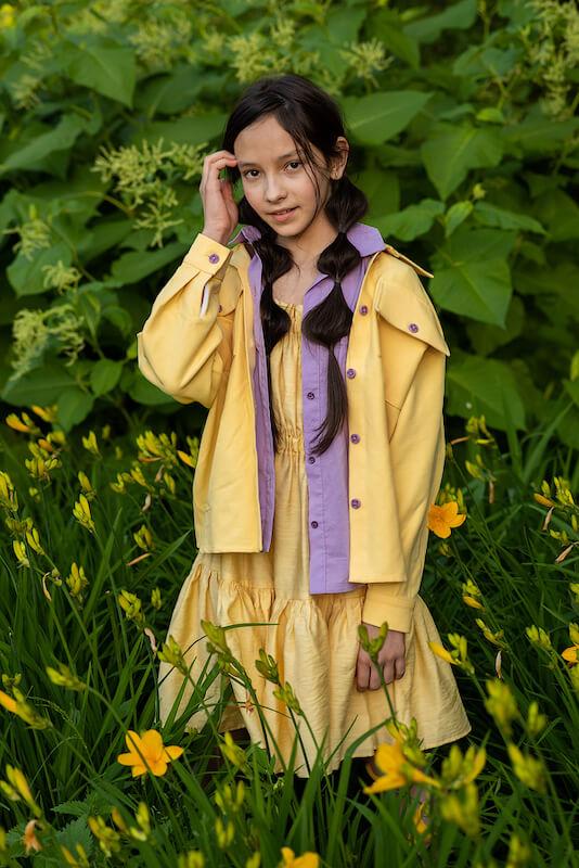 Летний желтый детский сарафан для девочки