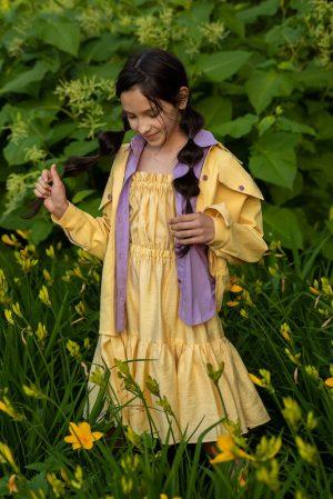 Летний желтый детский сарафан для девочки, с оборками и открытой спиной