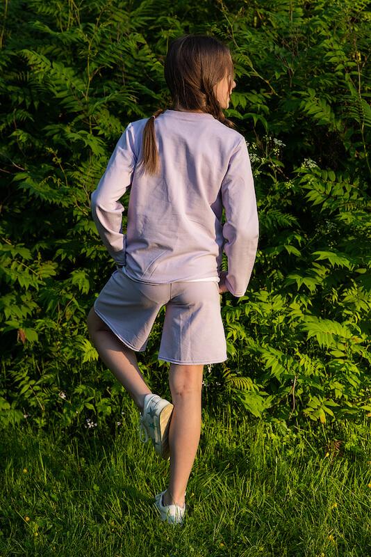 Сиреневые детские шорты из футера для девочки