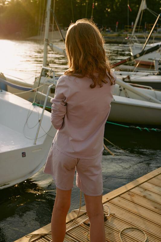 Сиреневые детские шорты из футера для девочки 2021 1