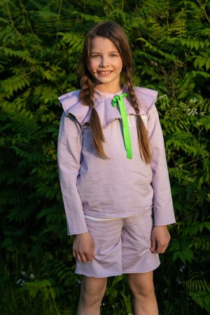 Сиреневый детский свитшот для девочки с принтом Leya.me