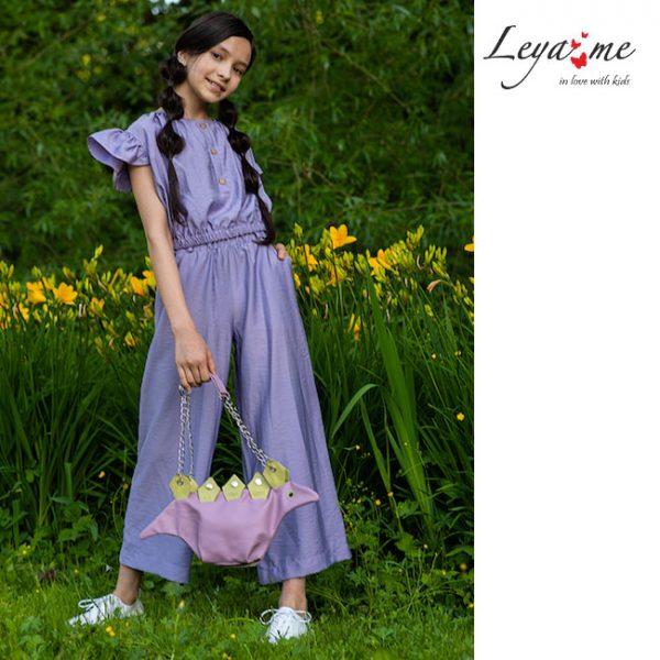 Сиреневые летние детские брюки из вискозы для девочки